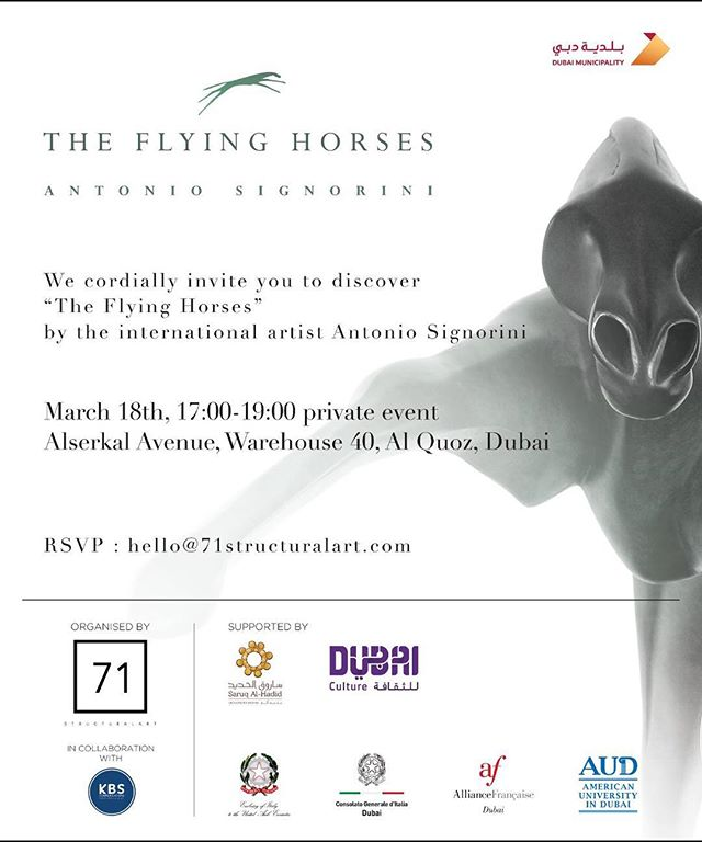 Under the patronage of @dubaimunicipality and in collaboration with @kbscommunications, 71 StructuralArt cordially invites you to discover the flying horses by Italian Artist Antonio Signorini on March 18th at 5pm in warehouse 40 Alserkal Avenue! Supported by @dubaiculture @saruq_alhadid @italyinuae @italyindubai  @alliancefrancaisedubai @audubai