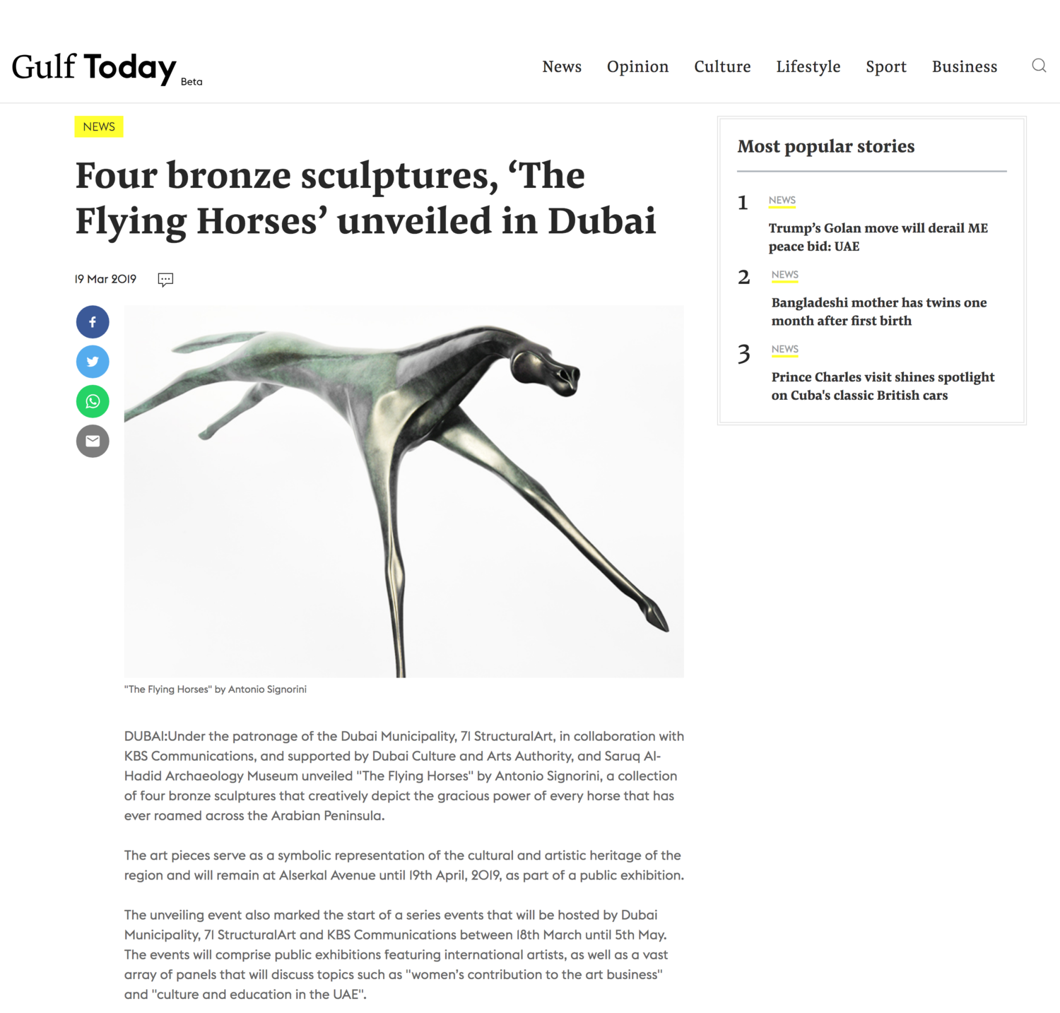 Gulf Today | Four bronze sculptures, 'The Flying Horses