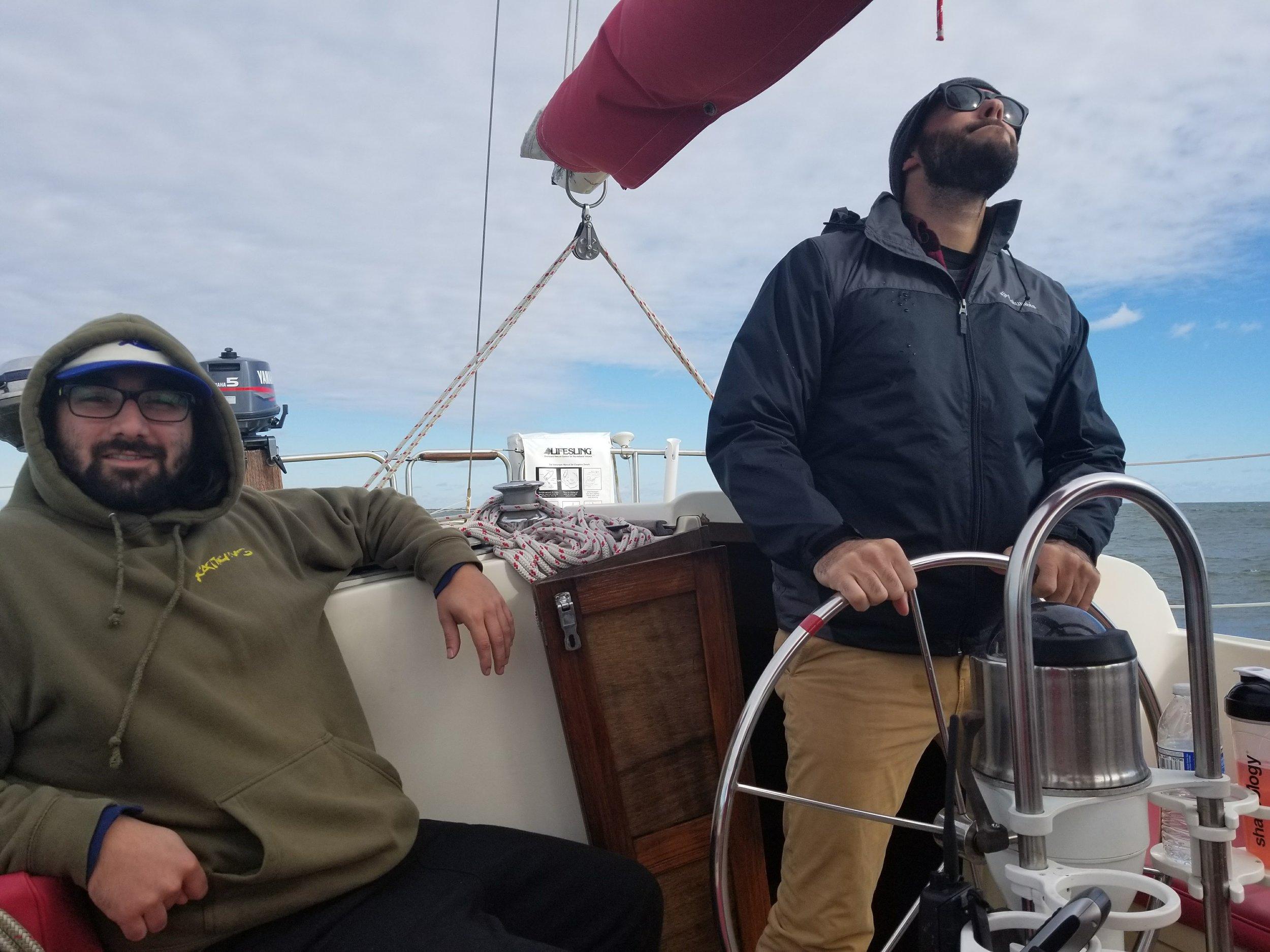Matt at the wheel and Alex providing comedic relief.
