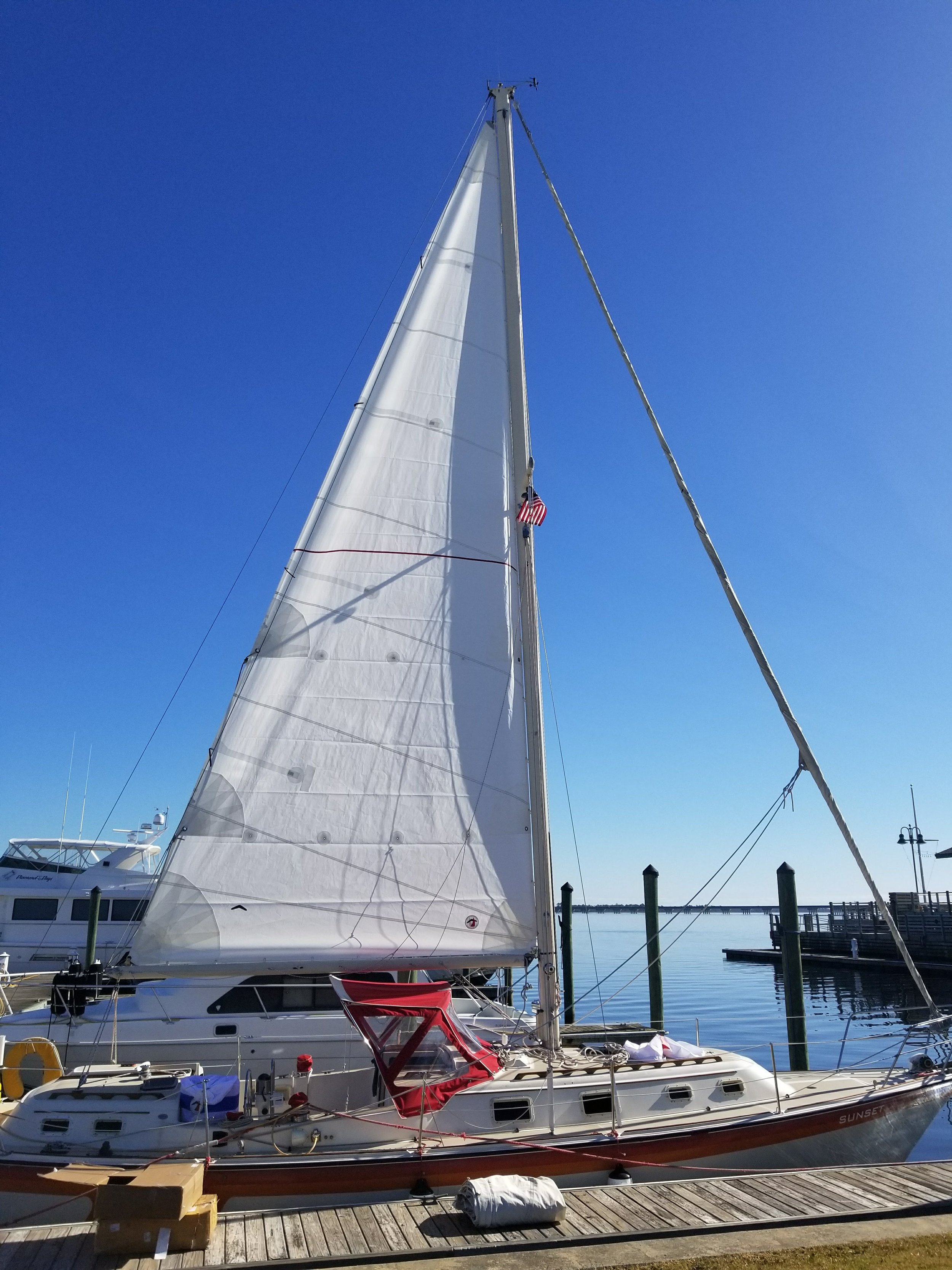 Sunset with her new mainsail installed.