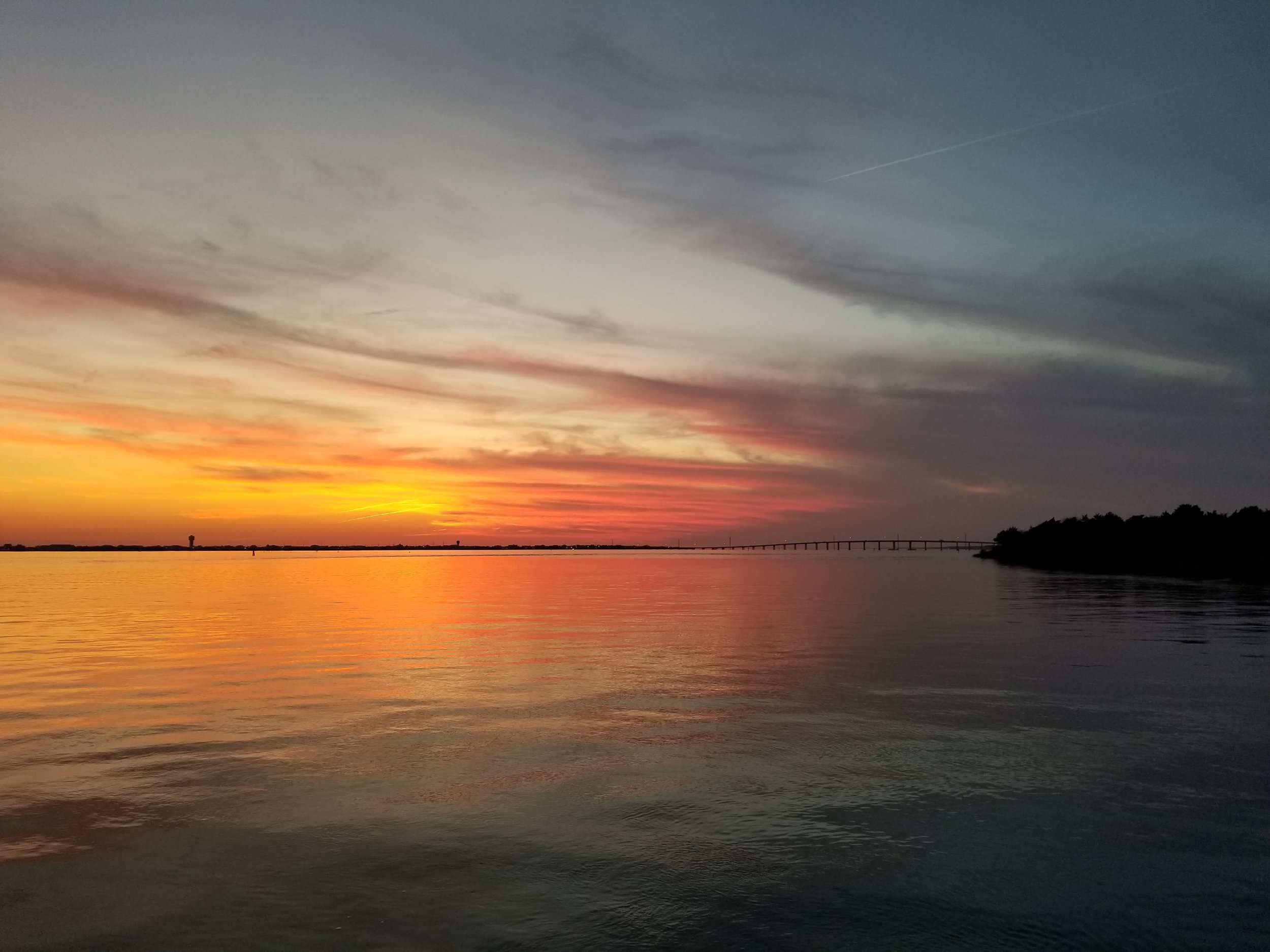 Sunset at anchor in Morehead City.