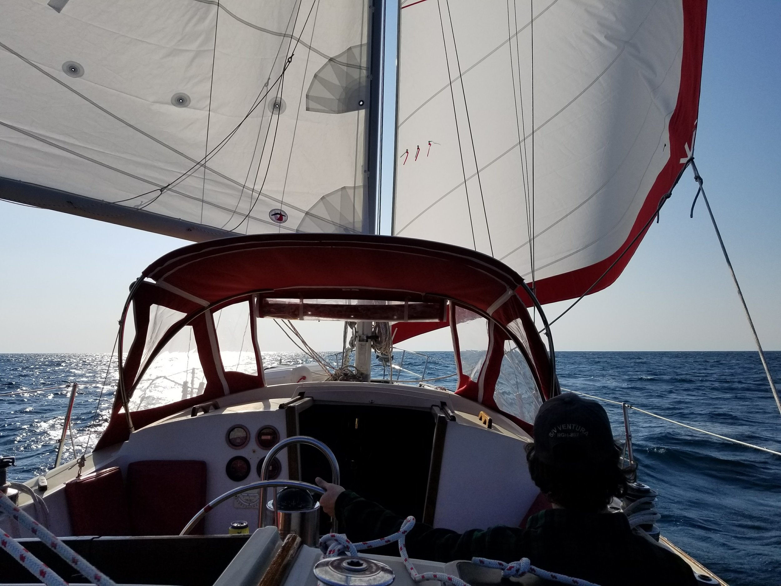 """Aden at the helm sailing """"wing and wing"""" to Charleston."""
