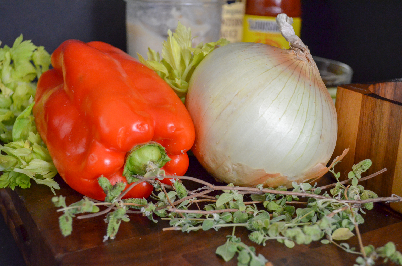 The Trinity - bell pepper, onion, and celery.