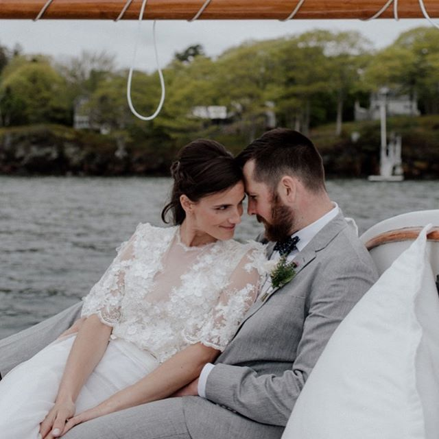 I love you and I like you 🌊 thanks for the dreamy sail @sailportlandmaine 🥂 . . Serious vibes @dbfratt and @leadtackleco Photography @katiejeanphotos Planning, Design and Florals #juliabretzevents Custom Gown @bigelowbride HMU @hairbydeneka . . #portlandmaine #maineelopement #elopeinmaine #elopementphotography #gonesailing