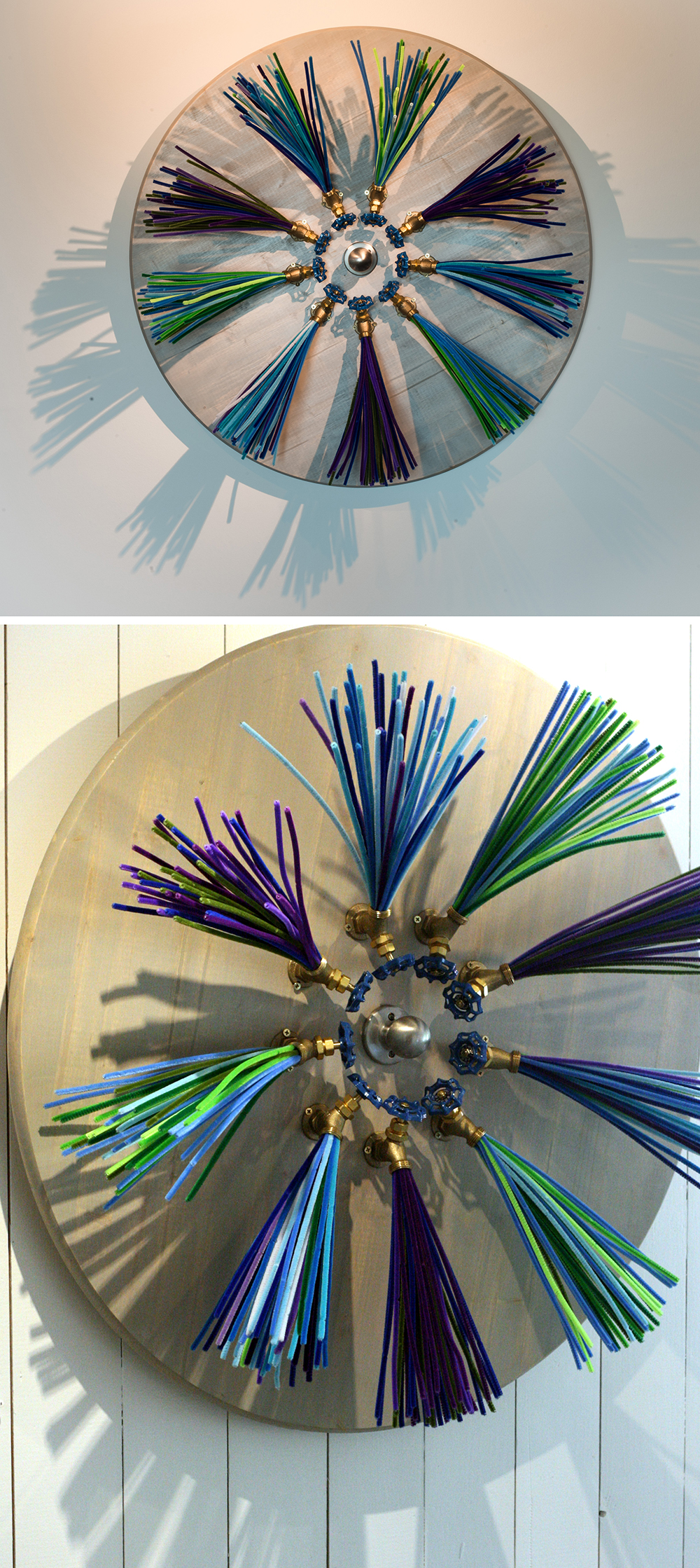 Water Wheel - Mixed Media3′ diameter2015It spins! Check out the video here:https://www.youtube.com/watch?v=wzG0nPDUyfk**Available for purchaseExhibited at:Gallery 701 at the Long Center, January – October, 2016 (Austin, Texas)Art for the People, May – June, 2015 (Austin, Texas)I am interested in power – whether it is the power of relationships or the literal interpretation of power that makes things run. This piece is my take on the water wheel that has played such a major role in our history, from the windmills that provided water to the rural communities, to the paddleboats navigating through the rivers. I have created this work for the viewer to spin, and have fun with the interaction it provides.