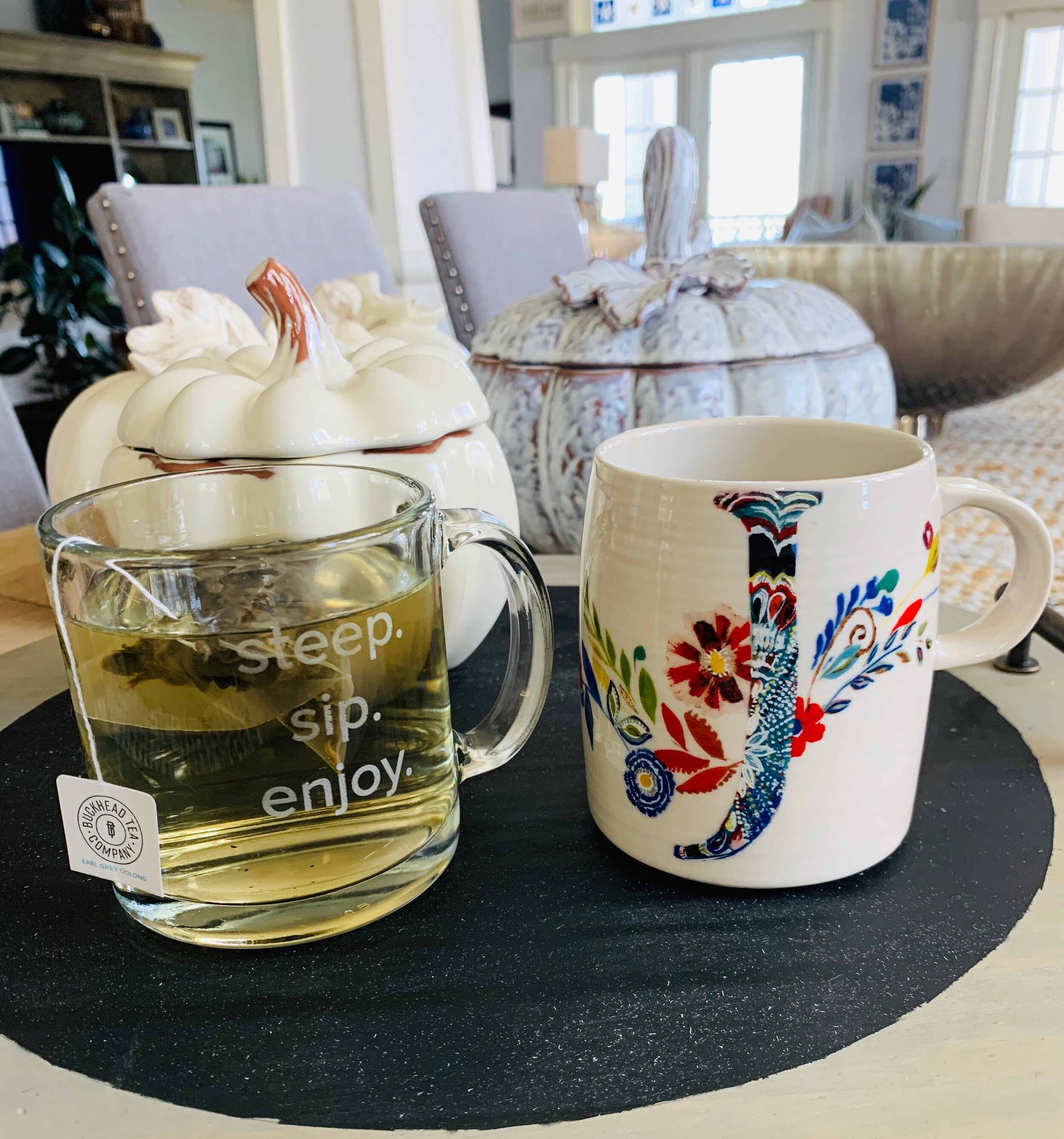 Tea cup on the left. Coffee cup gift on the right (Thanks Angie!)