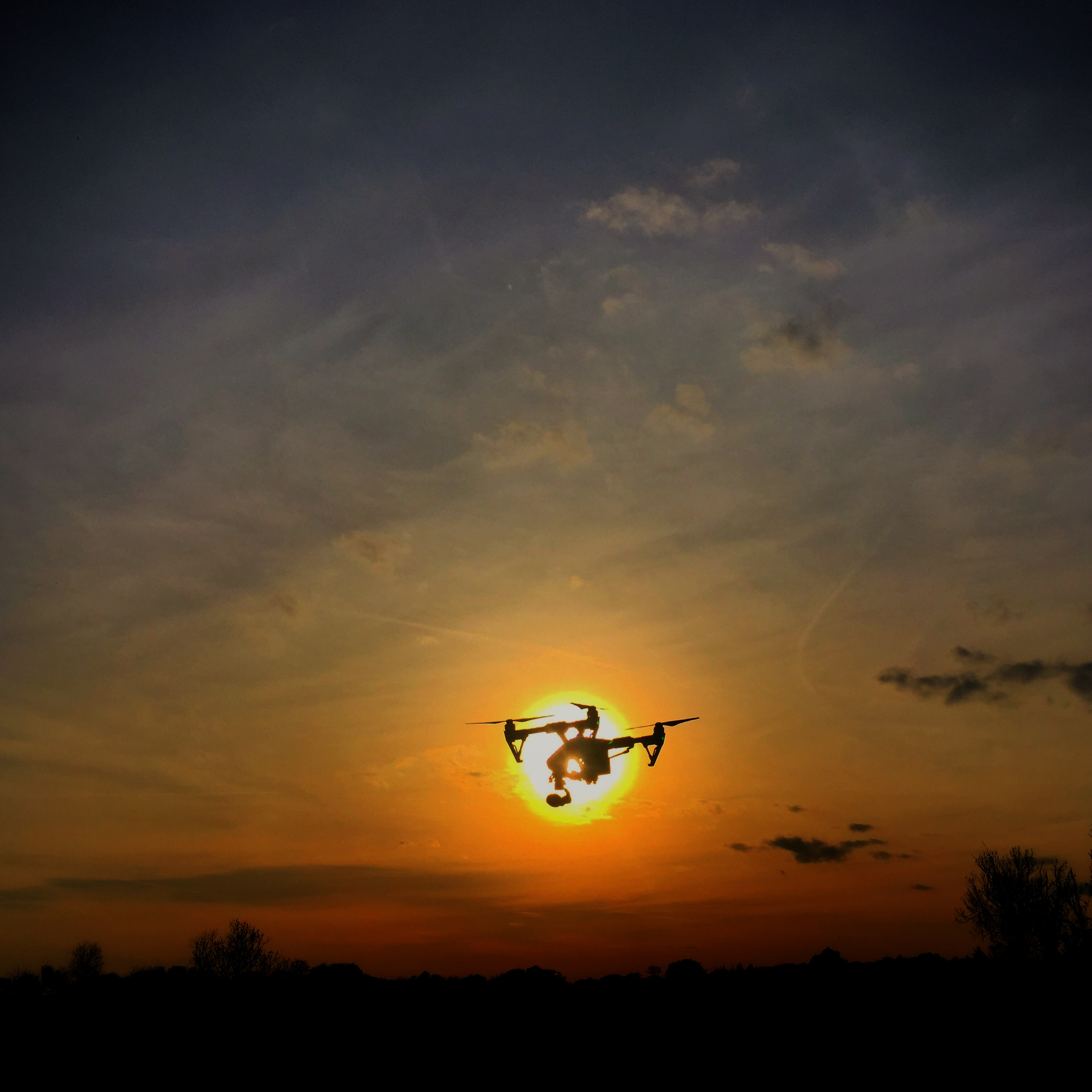 Inspire 1 coming in for a battery change during a sunset shoot