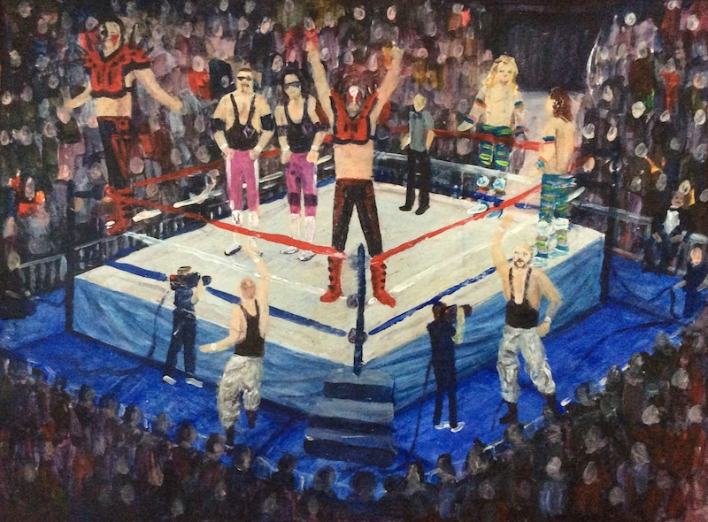 The Garden  - Painting by Scottish artist Craig Harper of a WWF tag team match featuring The Road Warriors, The Hart Foundation, The Bushwhackers and The Rockers.