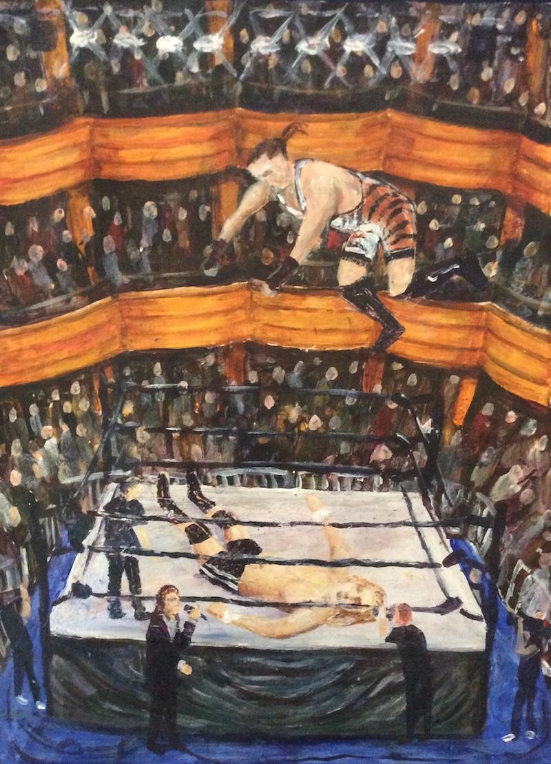 Craig Harper -  The Hammerstein Ballroom  - Painting by Scottish artist Craig Harper of a an ECW match between Rob Van Dam and Jerry Lynn at The Hammerstein Ballroom in New York.