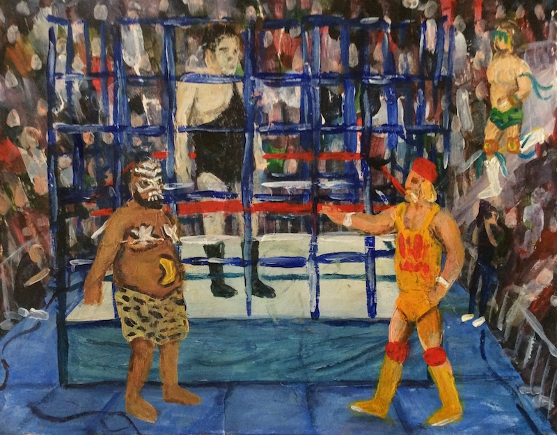 Craig Harper -  The Blue Cage  - Painting by Scottish artist Craig Harper of a WWF cage match, featuring Andre The Giant, Kamala, Hulk Hogan and Ultimate Warrior.
