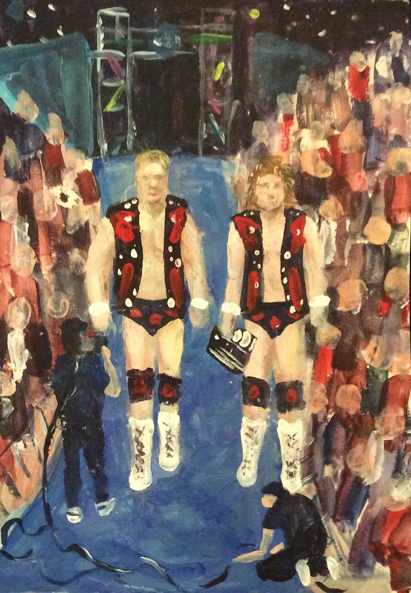 The Hollywood Blondes  - Painting by Scottish artist Craig Harper of a WCW tag team Steve Austin and Brian Pillman (The Hollywood Blondes).