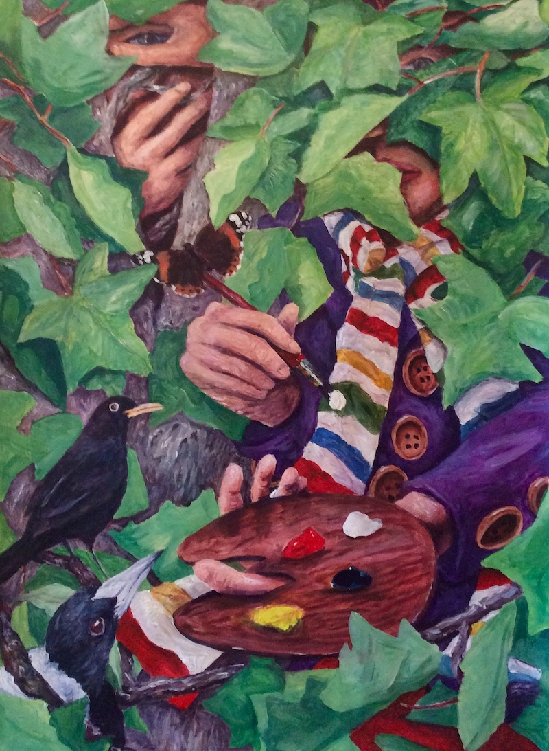 Sycamore Place  - Painting by Scottish artist Craig Harper of a painter underneath a sycamore tree, surrounded by birds and butterflies.