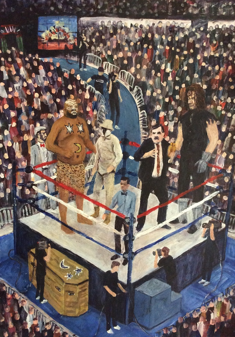 Craig Harper -  The Casket Match  - Painting by Scottish artist Craig Harper of a a WWF Casket Match between The Undertaker and Kamala from Survivor Series 1992.