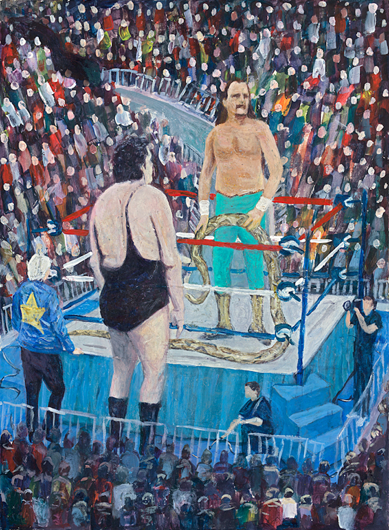 "Jake ""The Snake"" Robert  - Painting by Scottish artist Craig Harper of a WWF wrestling match between Jake ""The Snake"" Roberts  and Andre The Giant, with Bobbie ""The Brain"" Heenan at ringside."