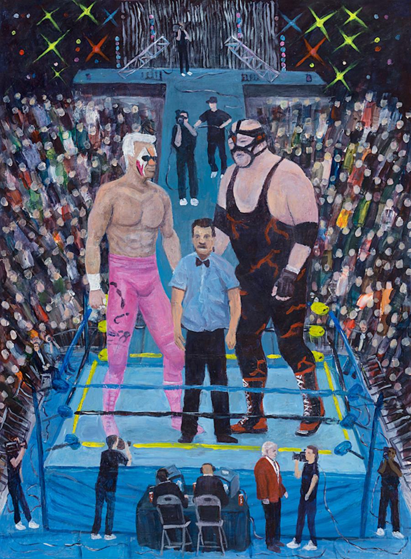 Sting vs Big Van Vader  - Painting by Scottish artist Craig Harper of a WCW wrestling match between Sting and Big Van Vader.