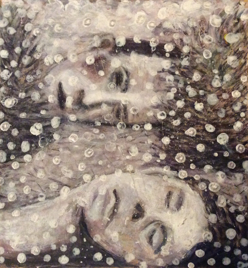 Snowfall  - Painting by Scottish artist Craig Harper of two heads lying in the snow.