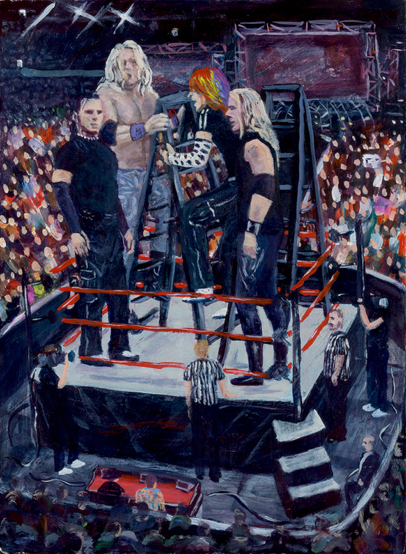 No Mercy Ladder Match  - Painting by Scottish artist Craig Harper of the tag team ladder match between Matt and Jeff, the Hardy Boyz and Edge & Christian from No Mercy 1999.