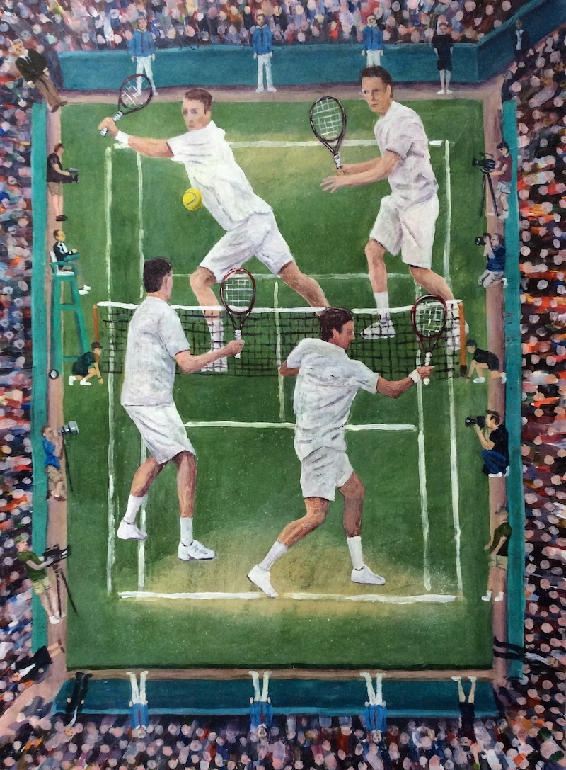 The Tennis Match  - Painting by Scottish artist Craig Harper of a doubles tennis match.