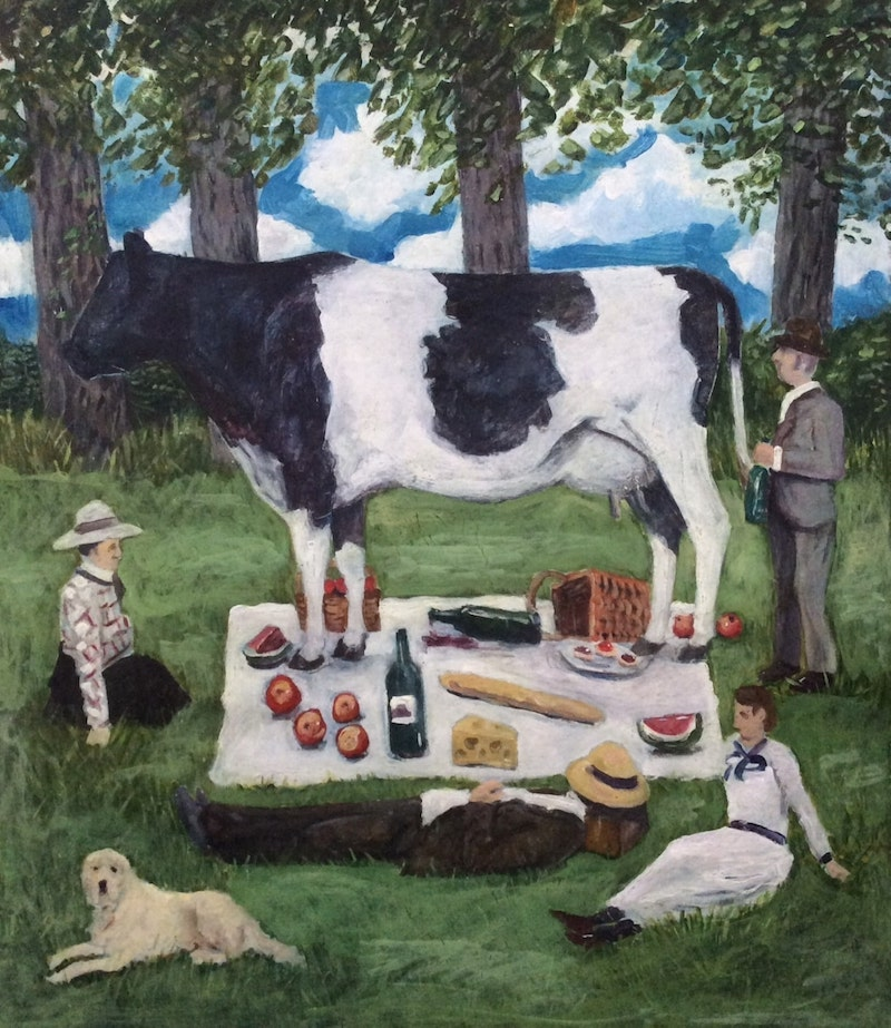 Picnic  - Painting by Scottish artist Craig McRobert Harper of a Picnic that has been ruined by a cow walking over it.