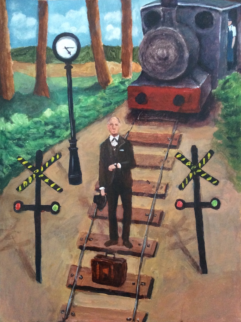 Drawing Distinctions Between Time and Space Can Be Fatal - Painting by Craigie Harper of a man standing on a train track.
