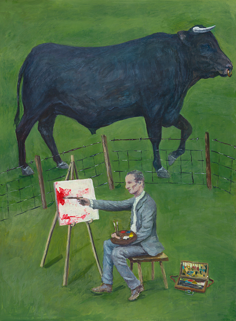 Painter Provoking The Bull  - Painting by Scottish artist Craig McRobert Harper of a painter in a field, painting a canvas red in front of a black bull. Acrylic on paper, 2019.