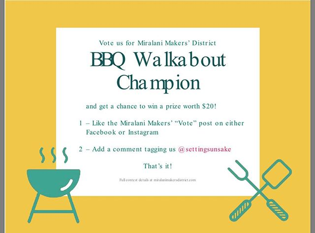 Vote for Setting Sun Sake to win prizes and prestige #walkabout #sake #bbq #drinklocalsake