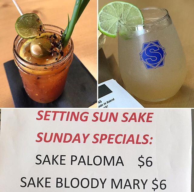 Sunny Sunday Specials!!! We are open until 6pm. Last call is at 5:45pm! Roll through. #drinklocalsake #sandiego #supportlocal