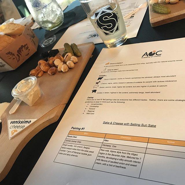 Our Cheese & Sake Pairing with @venissimo is underway! #drinklocalsake #sandiego #supportlocal #venissimocheese #sakeandcheesepairing #nihonshu #miralanimakersdistrict
