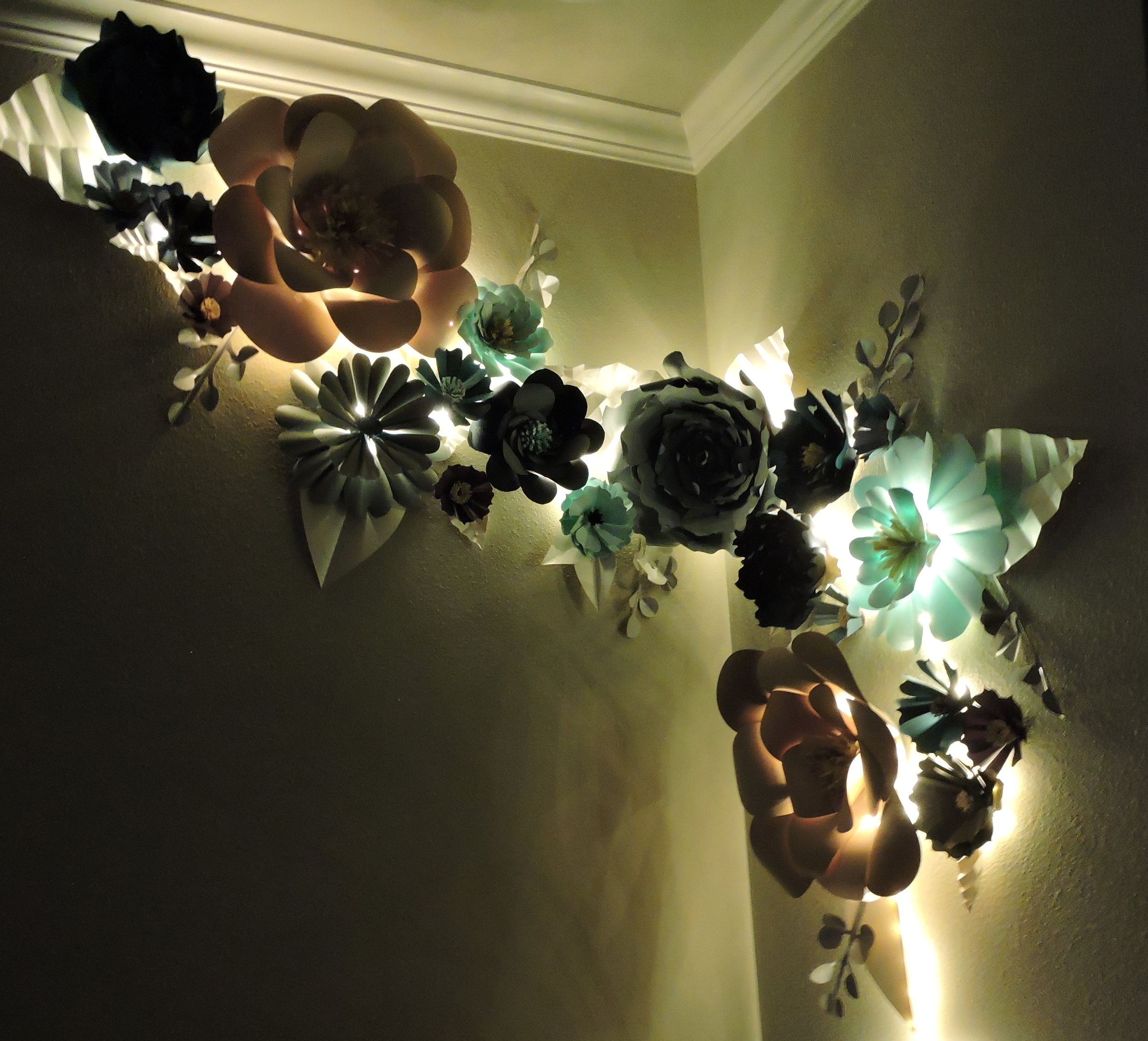 Giant Paper Flowers at night time, by Blue Fox Crafts 2017
