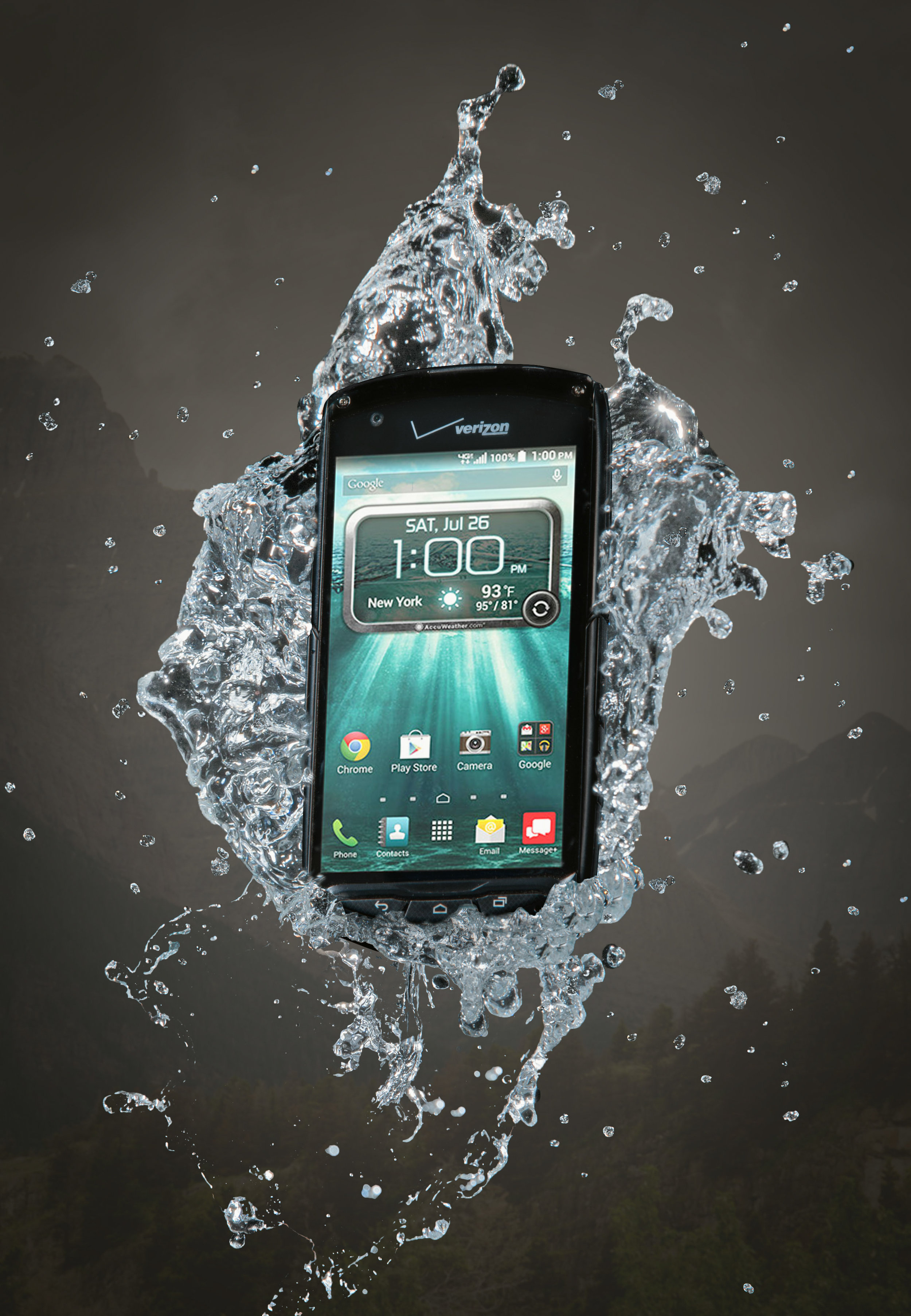 This is a composite image, it is not real- that is, this phone didn't really float in the mountain air surrounded by a bubble of water. However, it IS a super tough waterproof phone, and could have totally handled it.
