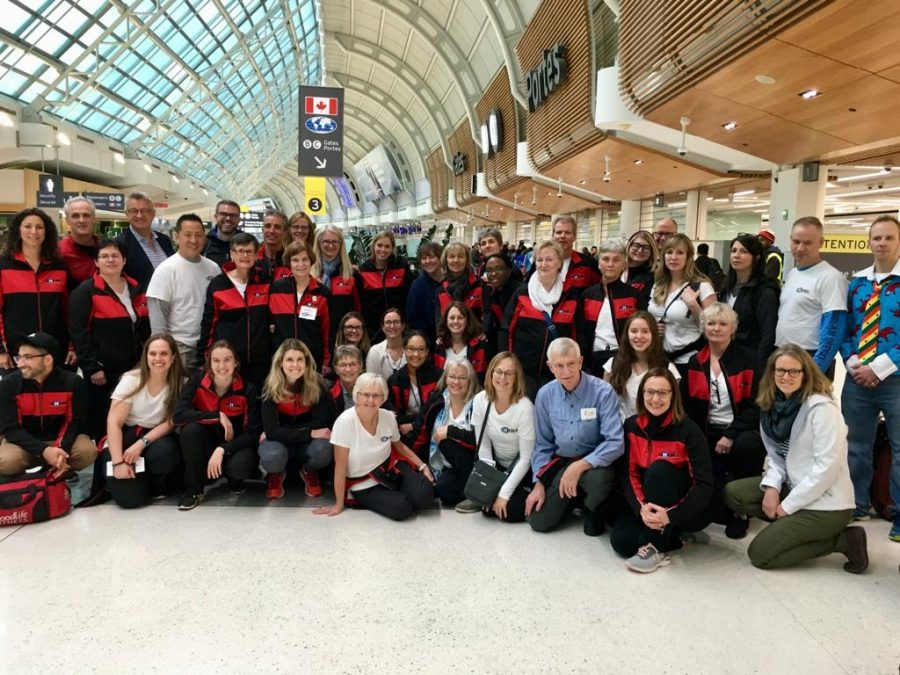 GHT2018 Canadian Team Members Departing Pearson International Airport on November 9, 2018, including Christ Church's Dr. Martin McDowell, Dr. Andy Patterson, Anne Embleton and Jane Smith.