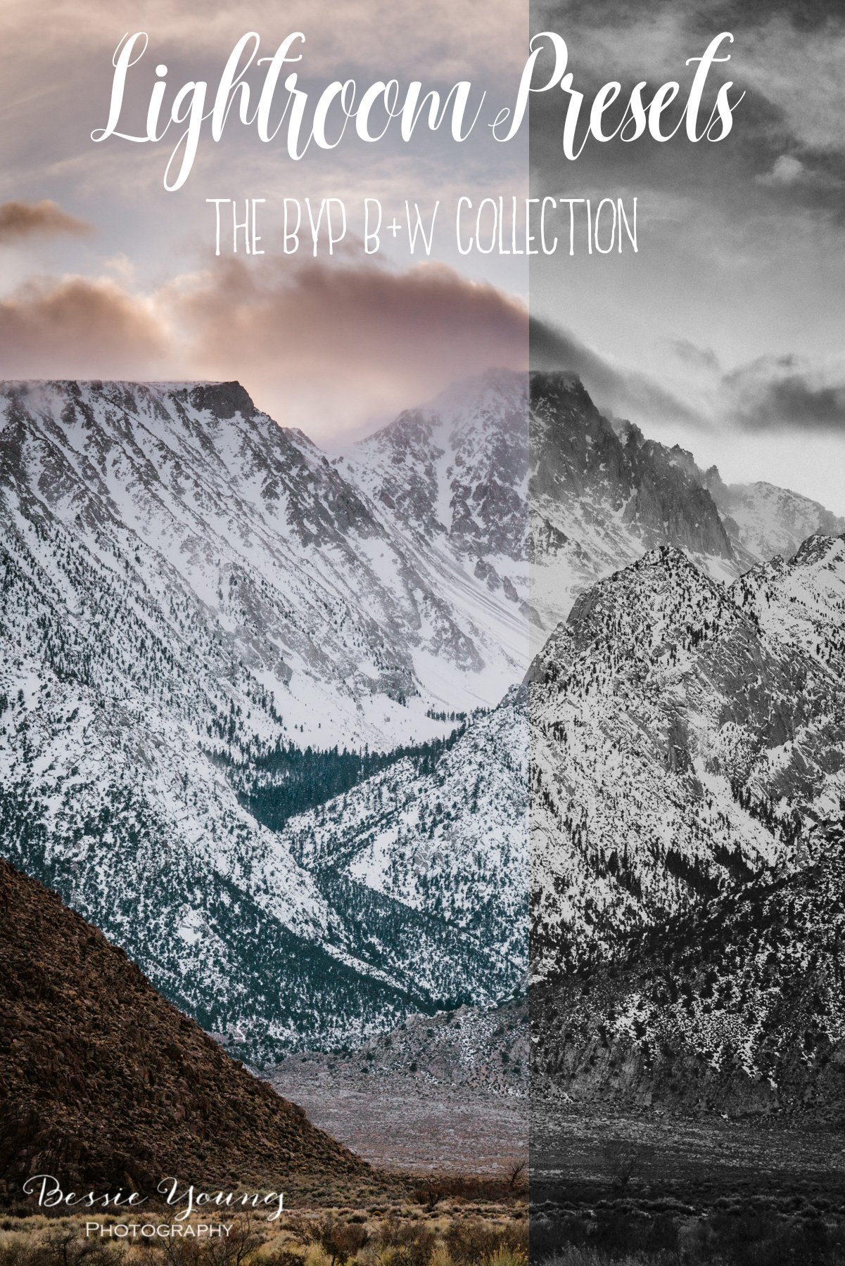 Black and White lightroom presets for Landscape Photography by Bessie Young Photography
