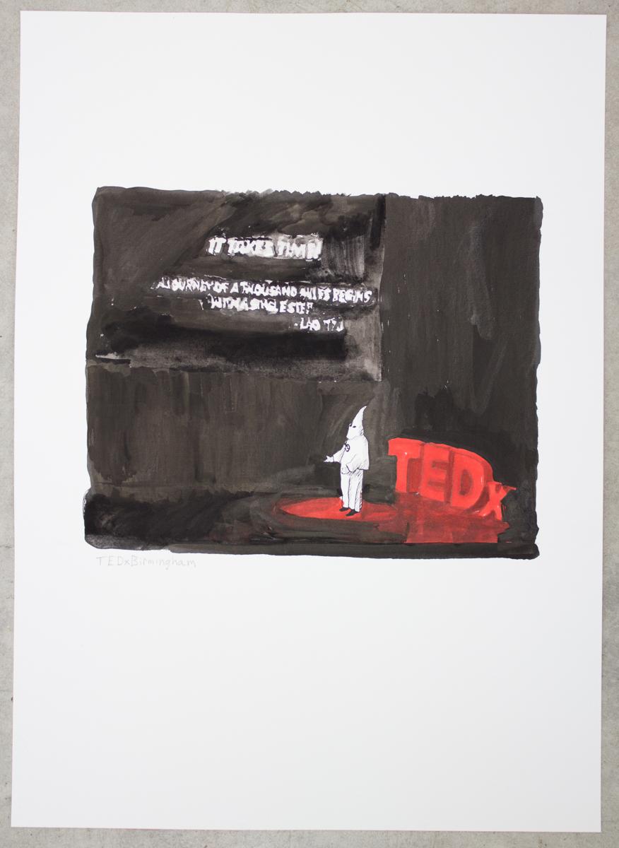 TEDx: Birmingham, ink on paper, 18 x 12 in., 2012.