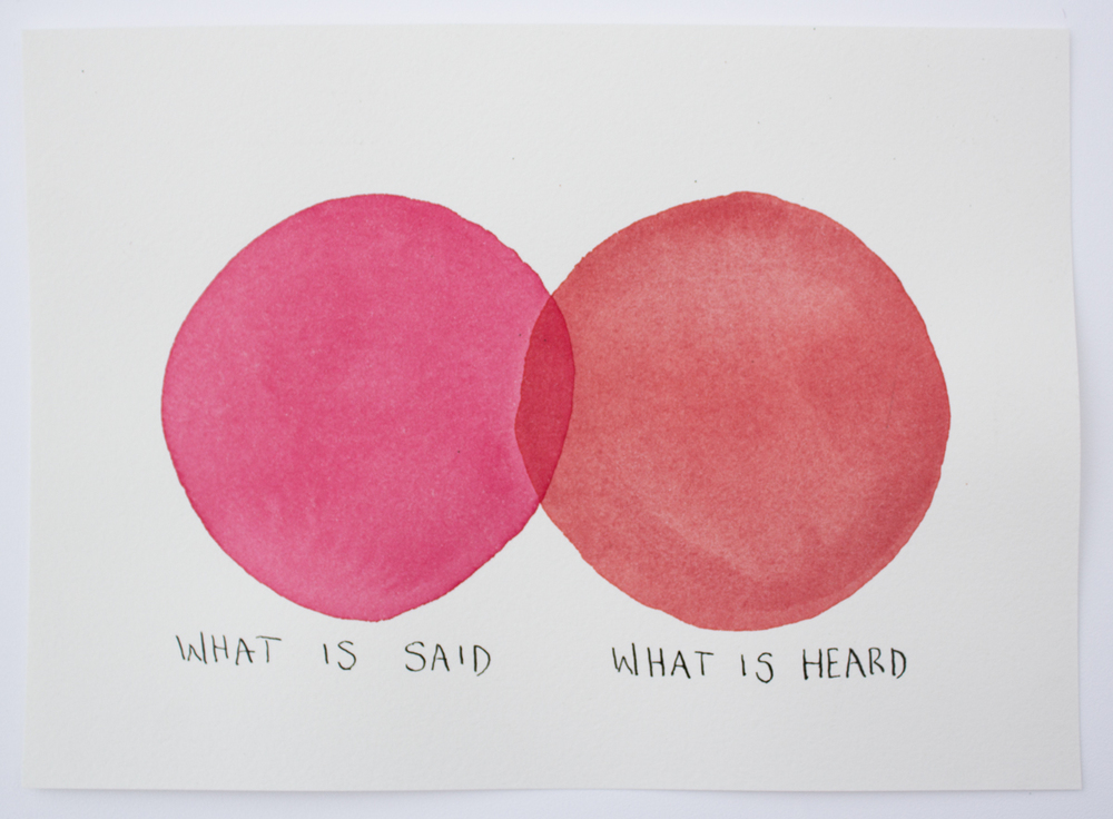 Untitled (What is said...), watercolor and ink on Arches paper, 7 x 9.75, 2016.