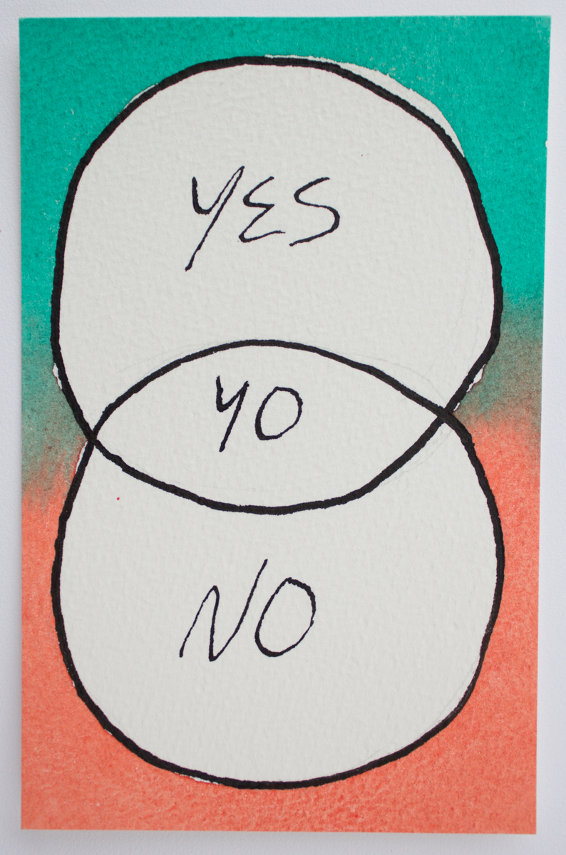 Untitled (Yes/No), Watercolor and ink on Arches paper, 3.5 x 5 in., 2016.