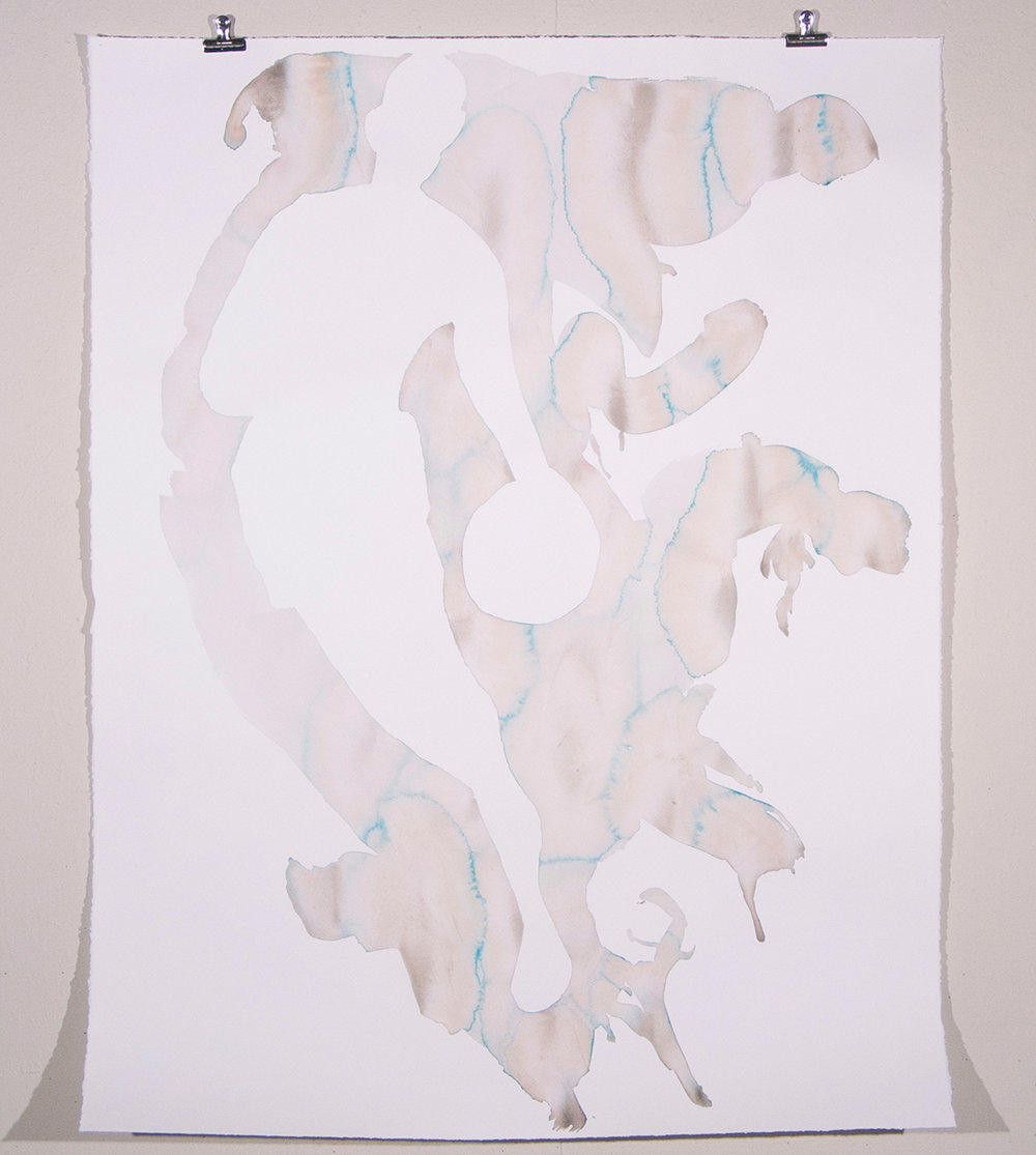 Untitled (nba logo), watercolor on Rives BFK, 61.5 x 48 in., 2004