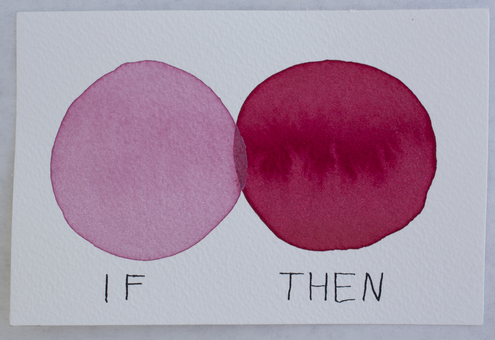 Untitled (If/Then) , watercolor, gouache, and ink on Arches paper, 3.5 x 5.5 in., 2016.