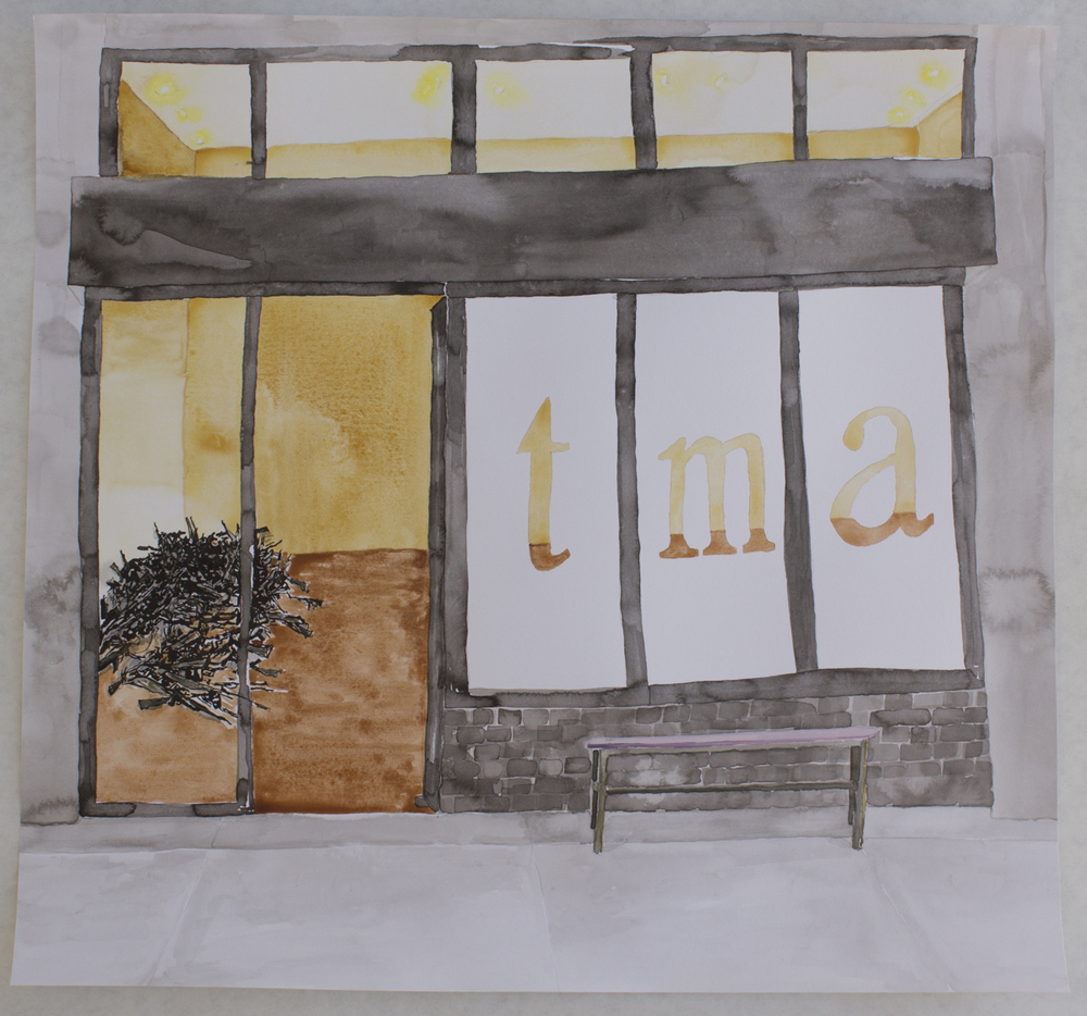 Terrorist Museum of Art , watercolor, ink and gouache on paper, 17.75 x 19 in., 2016.