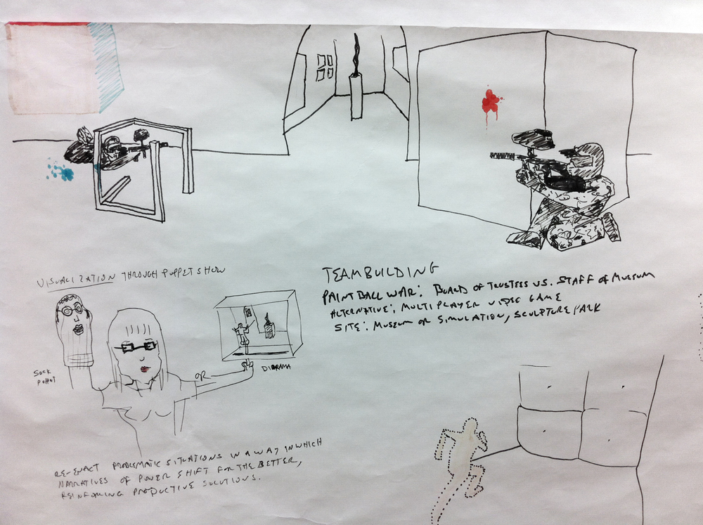 Preliminary sketches for  Cultural Ombudsmanry and Adaptive Equipment.