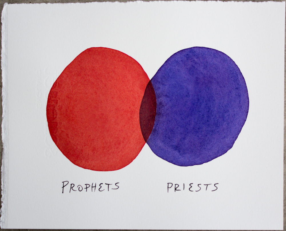 Untitled (Prophets ...) , watercolor and ink on Somerset, 6.25 x 8 in., 2017