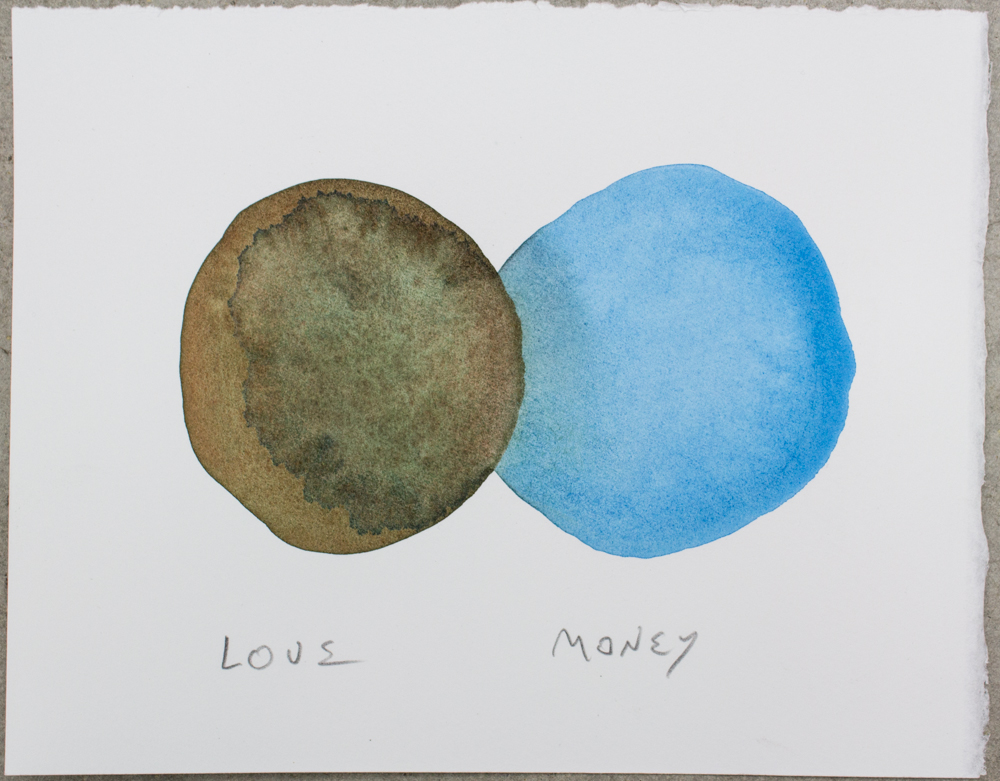Untitled (Love ...) , watercolor, gouache and graphite on Somerset, 6.25 x 8 in., 2018