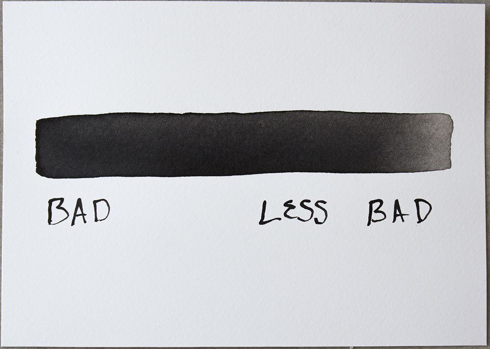 Untitled (Bad/Less Bad) , ink on Somerset, 4 7/8 x 6 3/4 in., 2018