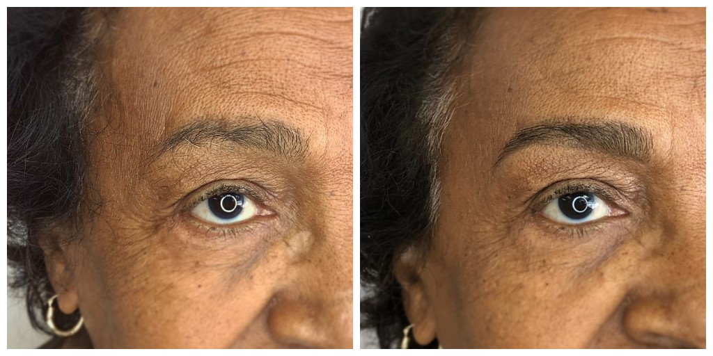 brow design with light pencil definition