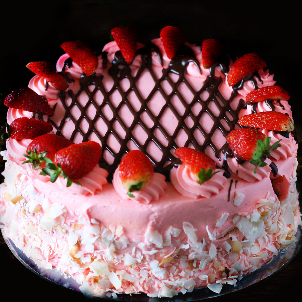Strawberries & Cream Torte -  Whole: $25.90 / Half: $14.50