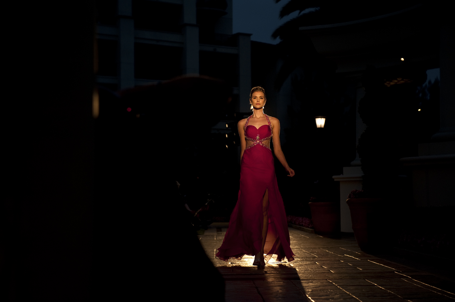 A model finishes her walk on the runway during the Sixth Annual Enzoani Fashion Event held at St. Regis Monarch Beach Resort in Dana Point, California.