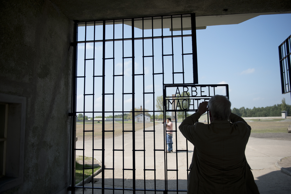 """The gate upon entrance at Sachsenhausen stating """"Work Makes One Free"""""""