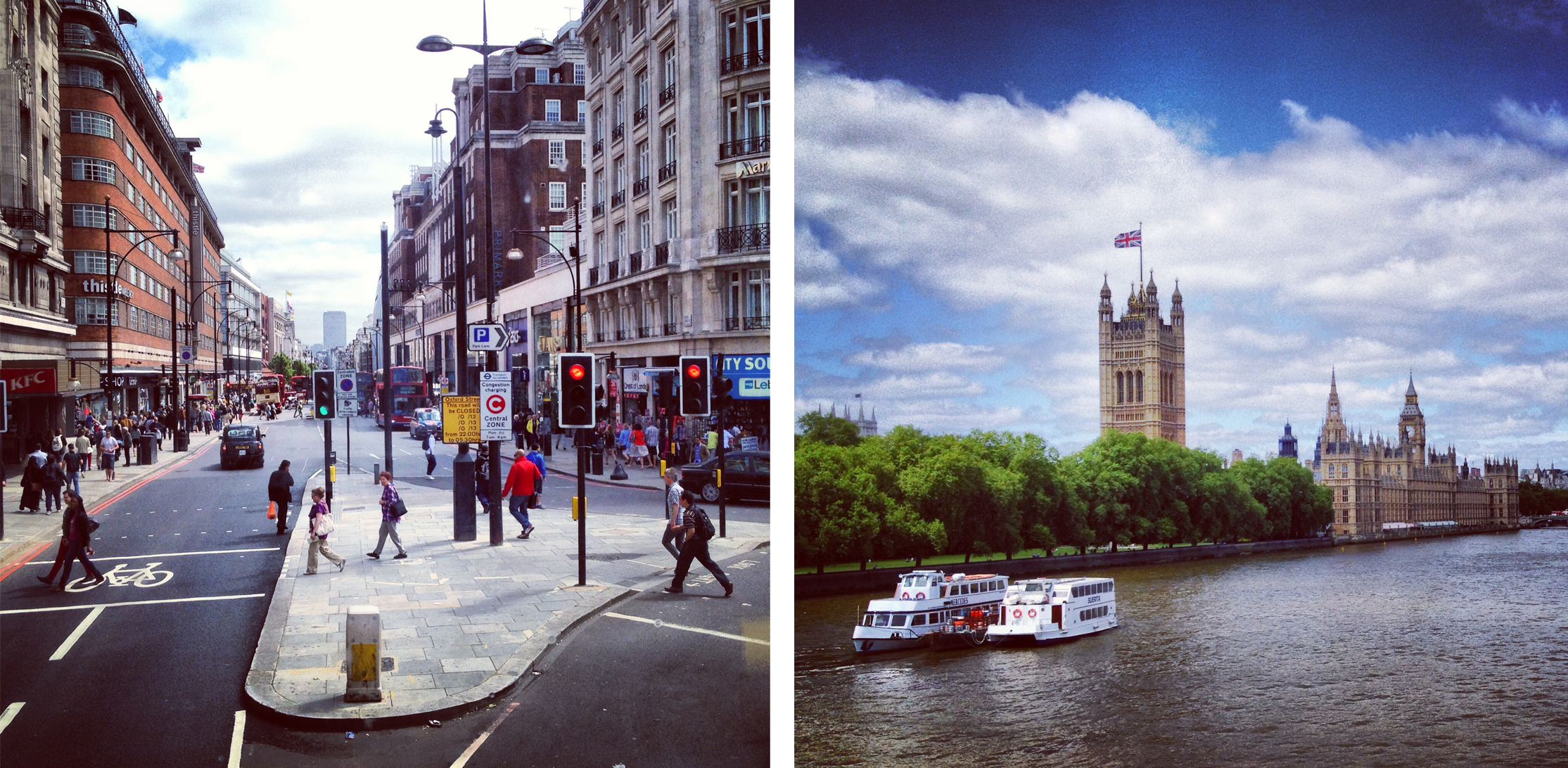 City bustle from atop a double decker bus and the River Thames on the one nice day.