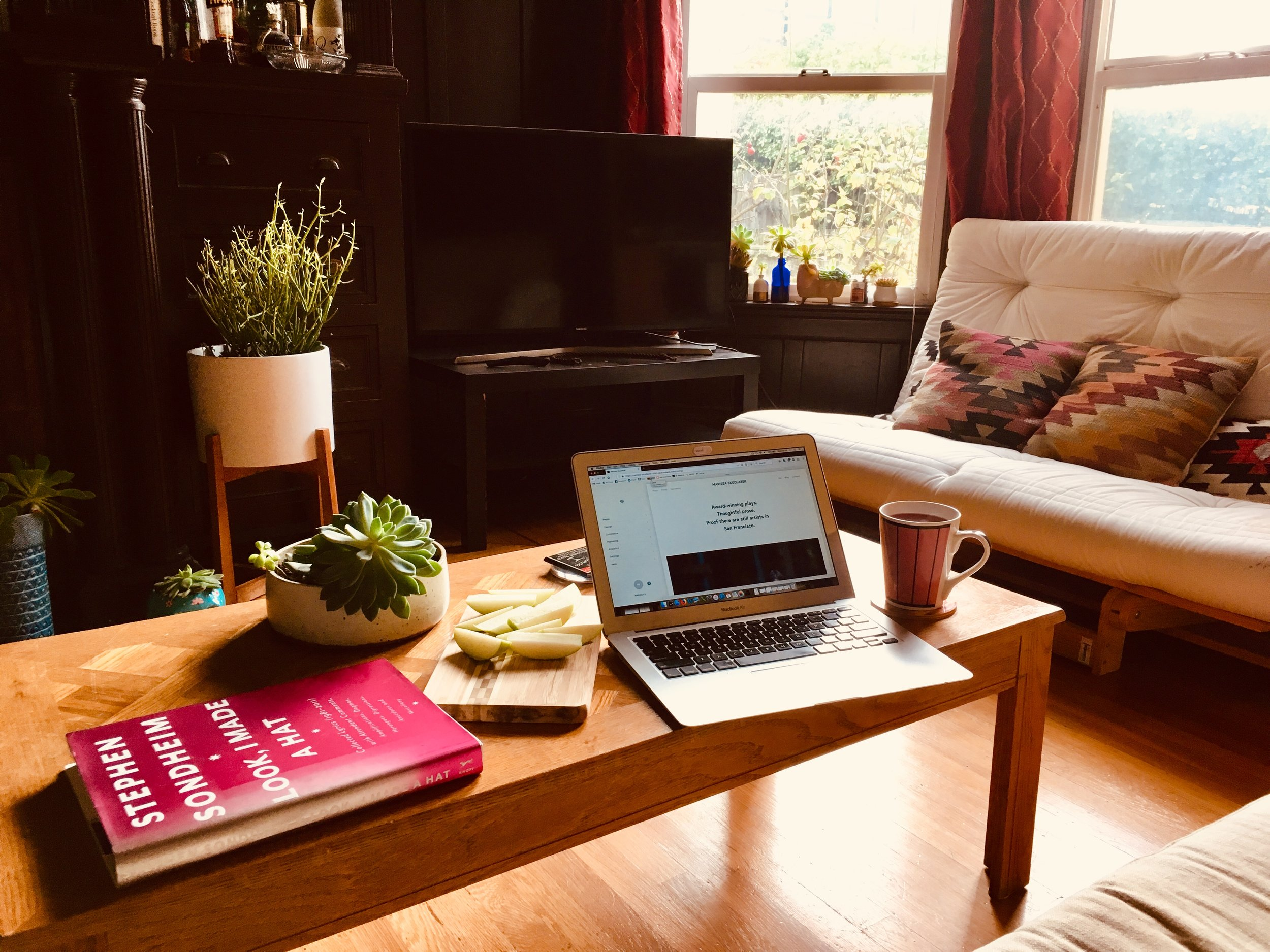 My desk is too much of a mess to show you, so here is my living room at a time when I'm not used to hanging out in it: midweek, midafternoon.