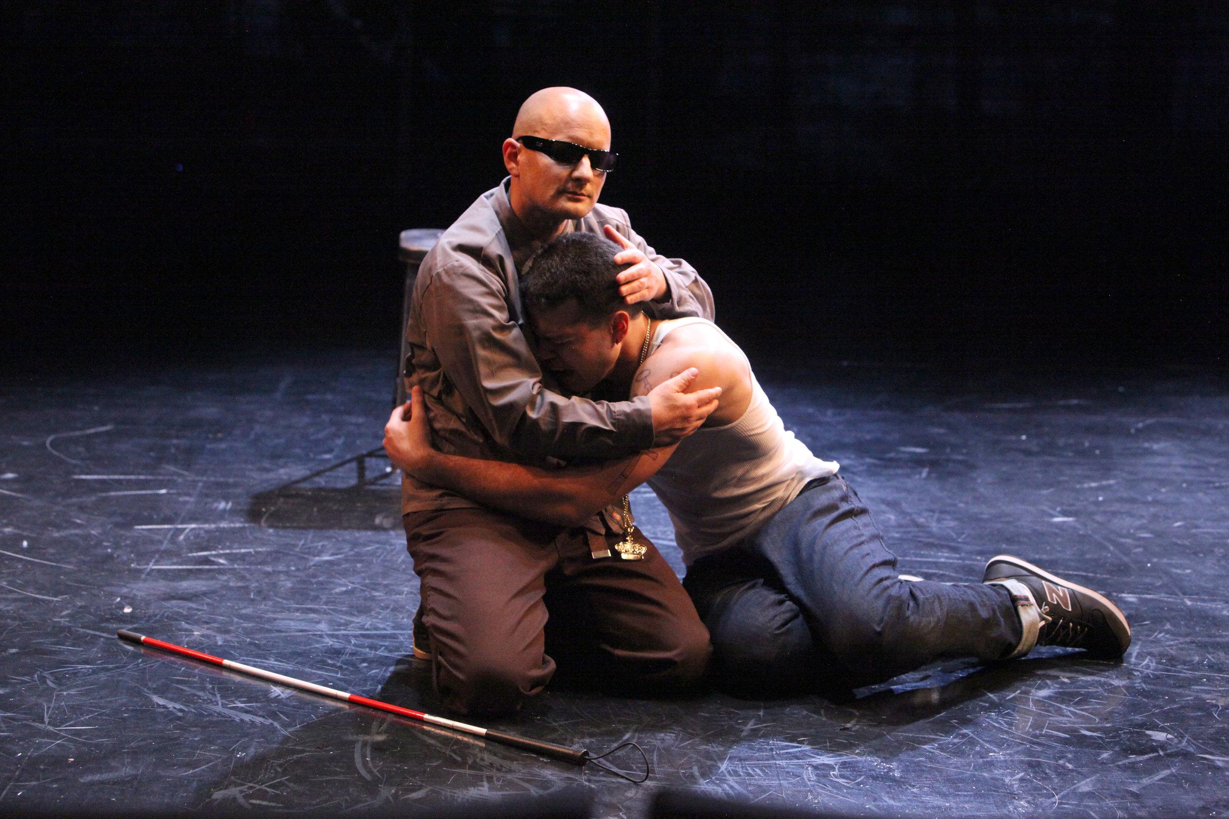 Tirésias (Sean San José) and his foster son Oedipus (Esteban Carmona). Photo by Jennifer Reiley.