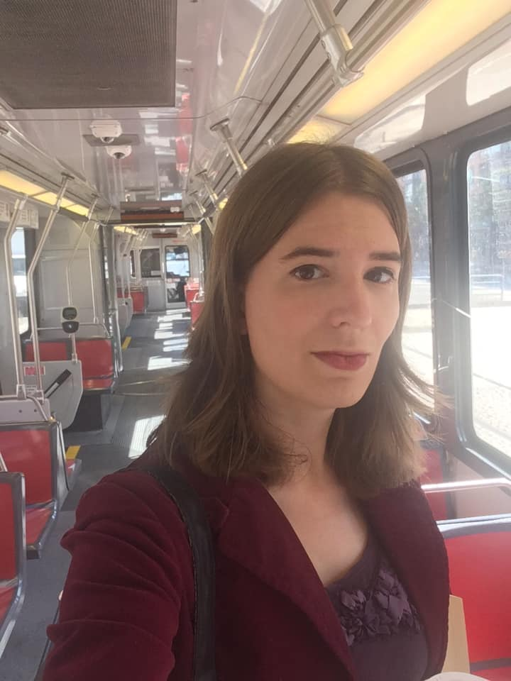 Another empty-bus selfie, nearly a year later. Riding the N-Judah to Caltrain last week, in my purposeful blazer and lipstick, on my way to Menlo Park to meet the team at Lex Machina.
